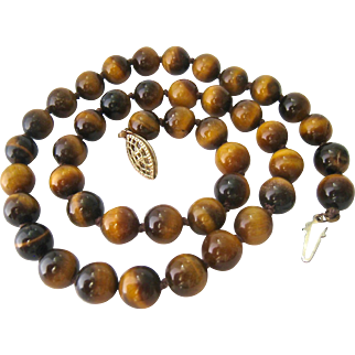 Tiger Eye Bead Necklace Hand Knotted Gold Filled Filigree Clasp