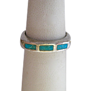 Sterling Silver 925 Turquoise Inlay Ring