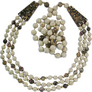Interesting Leopard Skin Jasper Bead Necklace Soft Earthtones 34 Inches