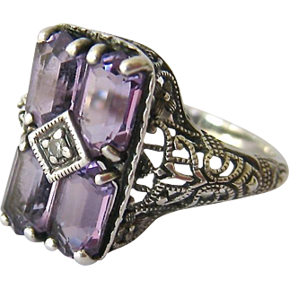Sterling Silver 925 Amethyst Diamond Deco Design Filigree Ring