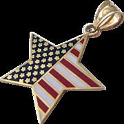 14K Gold Enamel American Flag Star Pendant Patriotic