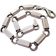 Sterling Silver 925 Large Rectangular Box Link Bracelet Italy