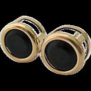 14K Gold Black Gemstone Post Earrings