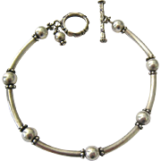 Sterling Silver 925 Curved Rod Arcs and Ball Bracelet Toggle Clasp