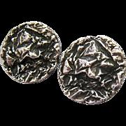 Sterling Silver 925 Brutalist Clip Earrings