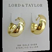 18K Gold Over Sterling Hoop Earrings on Original Card