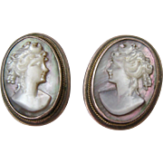800 Silver Mother of Pearl MOP Carved Cameo Clip Earrings
