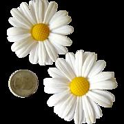 Huge Plastic Flower Daisy Clip Earrings