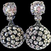 Fabulous Clear Paste Dangle Ball Clip Earrings