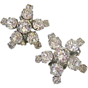 Clear Rhinestone Star Shaped Clip Earrings Very Sparkly