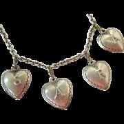 "Sterling Silver 925 Puffy Heart Charm Bracelet Spells ""Sara"""
