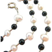 Sterling Silver 925  Cultured Pearl  and Black Bead Station Necklace