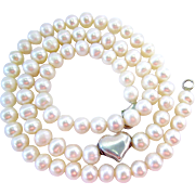 Sterling Silver 925 Cultured Pearl Necklace Heart Station