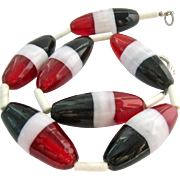 Large Glass Torpedo Bead Necklace Red Black White