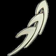 Modernist Sterling Silver 925 White Enamel Pin Brooch Norway Signed Karl Rasmussen