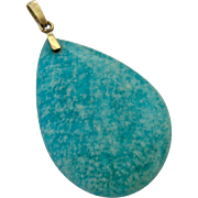 Large Blue-Green Gemstone Pendant 14K Gold Bail