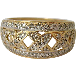 14K Gold Diamond Paved Graduated Band Ring Open Work 55 Diamonds