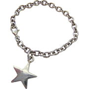 Sterling Silver 925 Rolo Link Bracelet with Large Star Charm Dangle