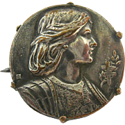 Old Joan of Arc Pin Brooch Signed Leleu