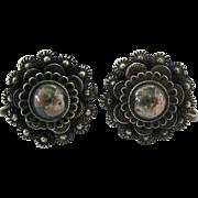 Sterling Silver 925 Cannetille Filigree Screw Back Earrings