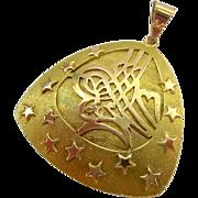 14K Gold Large Tughra Ottoman Turkish Pendant 5.5 Grams