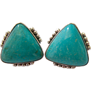 Sterling Silver 925 Earrings Turquoise Colored Stones Triangular Shape Signed RB