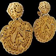 Miriam Haskell Filigree Dangle Clip Earrings Russian Gold Finish