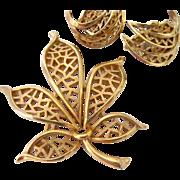 Crown Trifari Gold Tone Leaf Motif Pin Brooch and Earring Set