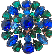 Amazing Blue Green Rhinestone Brooch Round Domed