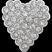 Small SilverTone Clear Rhinestone Heart Pin Signed ORA