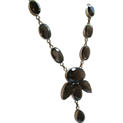 Sterling Silver 925 Smokey Quartz Necklace Signed Stunning Over 150 Carats