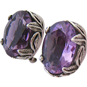 Exceptional Sterling Amethyst Clip Earrings Carol Felley 1997 Dated