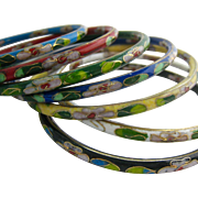 Set of 7 Cloisonne Bangle Bracelets