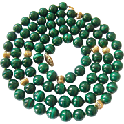 14K Gold Malachite Bead Necklace Hand Knotted