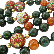 14K Carnelian Green Gemstone and Cloisonné Necklace Hand Knotted 33 Inches Endless