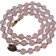 Rose Quartz Bead Necklace Hand Knotted Filigree Clasp