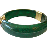 Jadeite Jade Hinged Bangle with 14K Gold Filled End Caps and Safety Chain