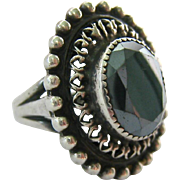 Impressive Sterling Silver 925 Faceted Hematite Ring Large Presentation