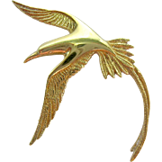 Gilt Sterling Silver 925 Soaring Bird Pin Brooch