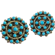 Sterling Silver 925 Turquoise Color Stone Round Clip Earrings