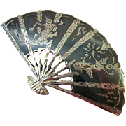 Made in Siam Sterling 925 Niello Large Fan Brooch