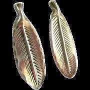 Nye Sterling 925 Elongated Leaf Screw Back Earrings