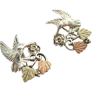 Sterling Silver 925 and 10K Black Hills Gold Hummingbird Clip Earrings Original Box
