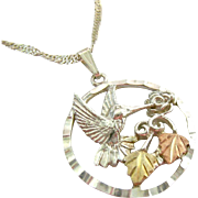 Sterling Silver 925 and 10K Black Hills Gold Hummingbird Pendant Necklace