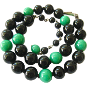 Green Black Hand Knotted Glass Bead Necklace Choker Deco Colors