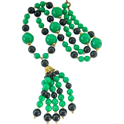 Green Black Glass Bead Necklace with Tassel Deco Colors