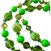 Vendome Shades of Green Glass Bead Necklace