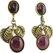 Gilt Sterling 925 Amethyst MFA Dangle Earrings Grapes Leaves 14K Posts