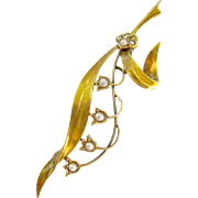 15K 15Ct Gold Seed Pearl Brooch Lily of the Valley