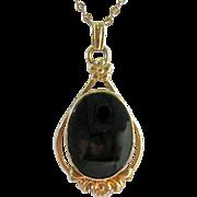 Van Dell 12K Gold Filled Black Stone Pendant Necklace